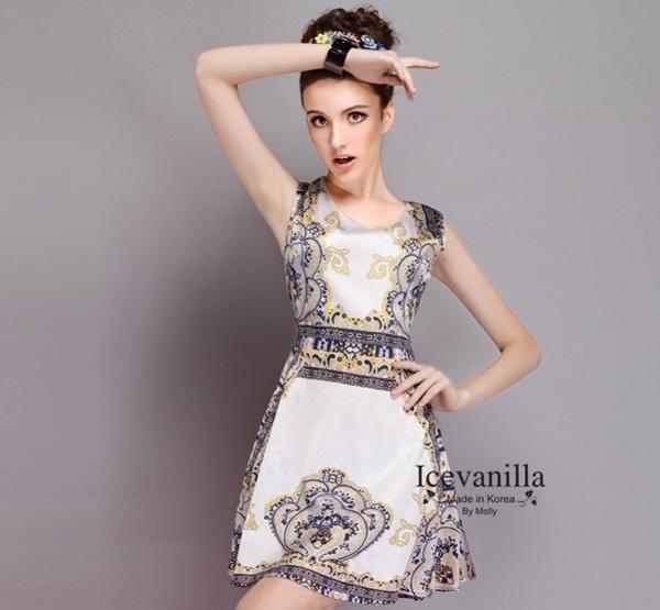 Ice Vanilla Luxury Retro Dress เดรสผ้าพิมพ์ลาย สไตล์ retro