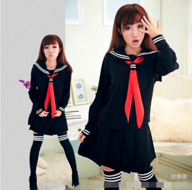 ชุดนักเรียนญี่ปุ่นแฟนซีผ้าเนื้อดีมาก สีกรมท่าคอปกกะลาสีเดินเส้นขาว กระโปรงจีบรอบ ผ้าพันคอสีแดง พร้อมถุงเท้ายาวเข้าชุด