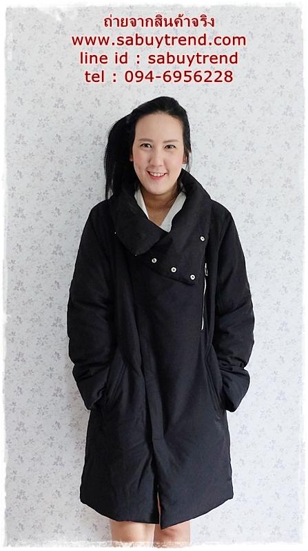 ((ขายแล้วครับ))((จองแล้วครับ))ca--2783 เสื้อโค้ทขนเป็ดสีดำ รอบอก44