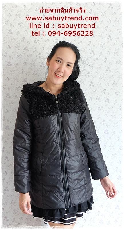 ((ขายแล้วครับ))((จองแล้วครับ))ca-2731 เสื้อโค้ทกันหนาวสีดำ รอบอก38
