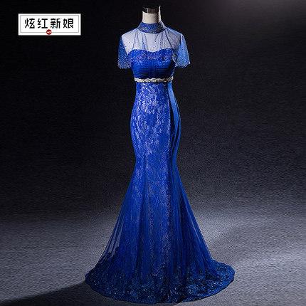 (เช่าชุดราตรี) ชุดราตรี <สีน้ำเงิน> รหัสสินค้า EK_XEVL0171