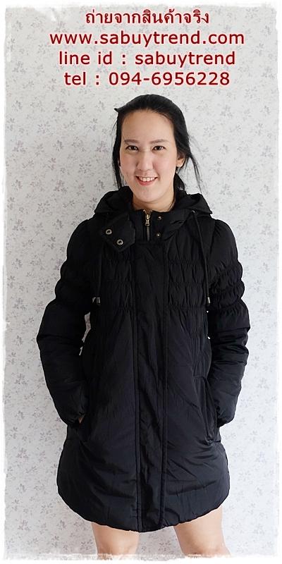 ((ขายแล้วครับ))((คุณsmileykuiจองครับ))ca-2854 เสื้อโค้ทขนเป็ดสีดำ รอบอก34-36