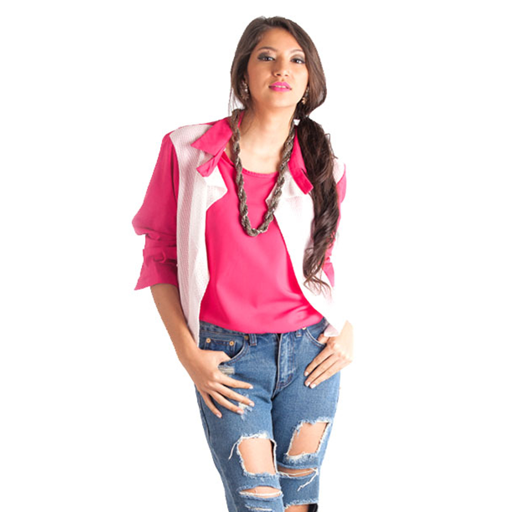 Pink Shirt with Net Decored
