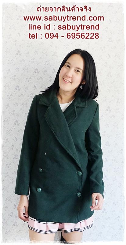 ((ขายแล้วครับ))((คุณประสัสสรจองครับ))ca-2655 เสื้อโค้ทกันหนาวผ้าวูลสีเขียวเข้ม รอบอก36