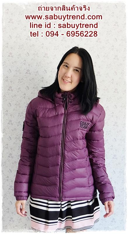 ((ขายแล้วครับ))((คุณจิดาภาจองครับ))ca-2642 เสื้อโค้ทกันหนาวผ้าร่มขนเป็ดสีม่วง รอบอก41