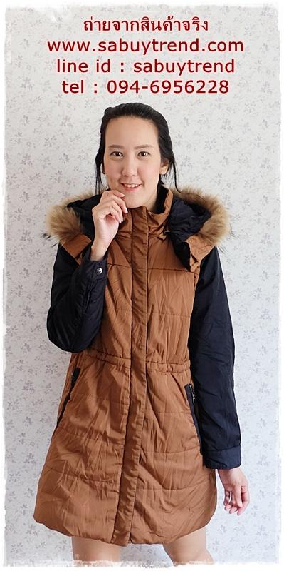 ((ขายแล้วครับ))((จองแล้วครับ))ca-2835 เสื้อโค้ทผ้าร่มสีน้ำตาล รอบอก39