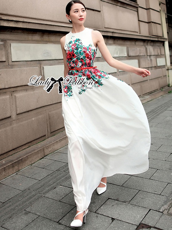 Lady Ribbon Elegant Flower Blooming Printed Maxi Dress