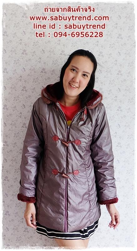 ((ขายแล้วครับ))ca-2824 เสื้อโค้ทกันหนาวผ้าร่มสีเทาเหลีอบแดง รอบอก37