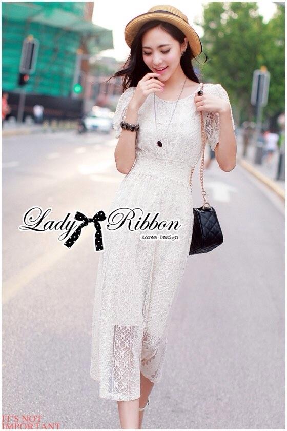 Lady Ribbon Lace Maxi Dress แม็กซี่เดรสแขนสั้น ผ้าลูกไม้ จั๊มเอว