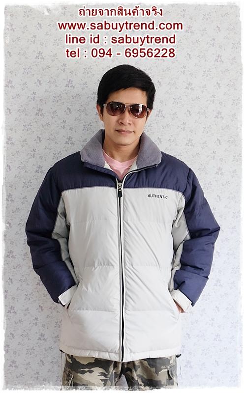 ((ขายแล้วครับ))((จองแล้วครับ))cm-104 เสื้อแจ๊คเก็ตกันหนาวผ้าร่มสีครีม รอบอก50