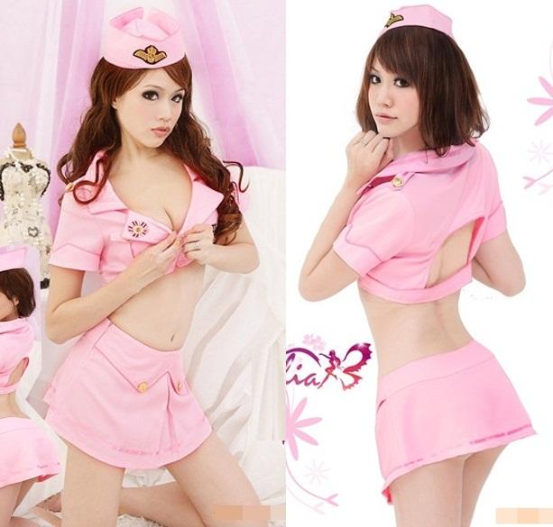 ชุดทหารแฟนซี สุดเซ็กซี่สีชมพู เสื้อคอปกตัวสั้น เจาะโชว์หลัง กับกระโปรงสั้นจุ๊ด (พร้อมหมวก+ กกน.เข้าชุด)