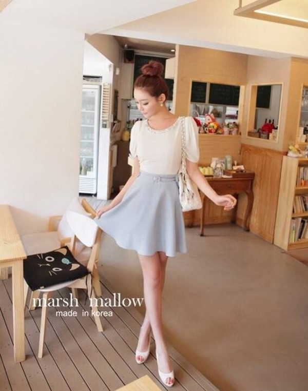 Marsh Mallow Pearl &Beaded Stitching Puff Dress with belt