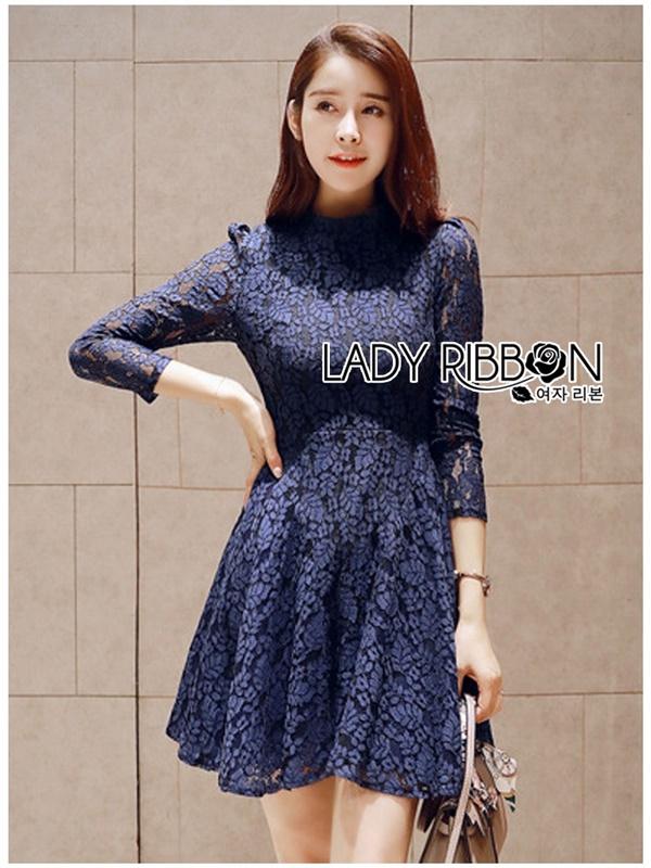 Lady Ribbon Dress เดรสผ้าลูกไม้สีนํ้าเงินเข้ม