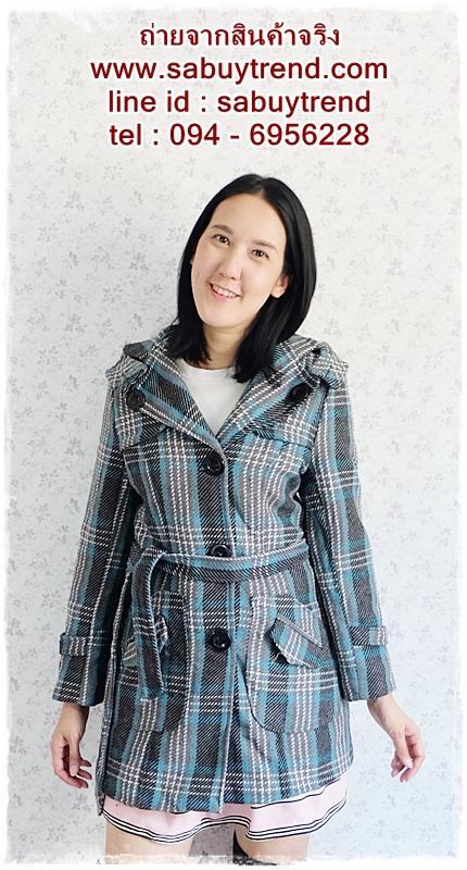 ((ขายแล้วครับ))((คุณPilineeจองครับ))ca-2661 เสื้อโค้ทกันหนาวผ้าถักลายเทาเขียว รอบอก34