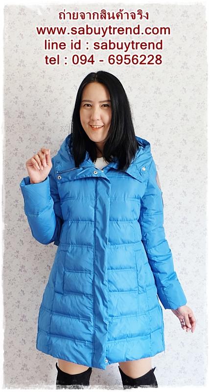 ((ขายแล้วครับ))((คุณพรทิพย์จองครับ))ca-2689 เสื้อโค้ทกันหนาวผ้าร่มขนเป็ดสีฟ้า รอบอก41