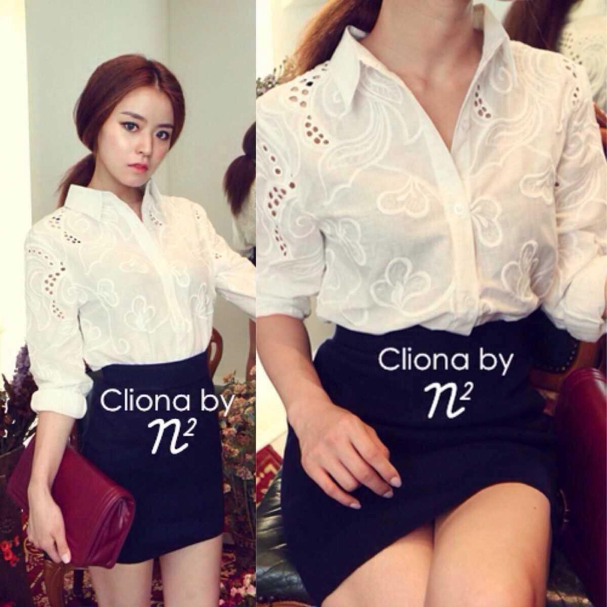 Cliona White Collar Embroidery Shirt เสื้อปกเชิ้ต ฉลุลายผ้า ปักลายดอกไม้