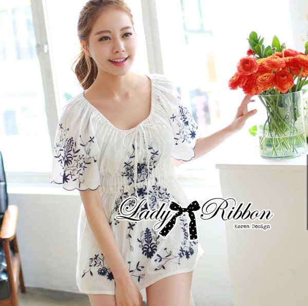 Lady Ribbon Lady Charlotte Embroidered Mini Dress
