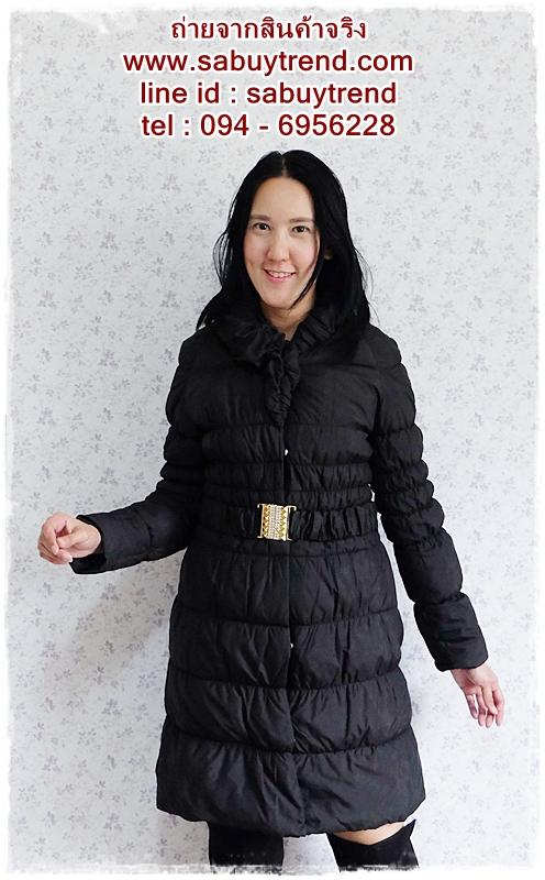 ca-2598 เสื้อโค้ทกันหนาวผ้าร่มสีดำ รอบอก32-36