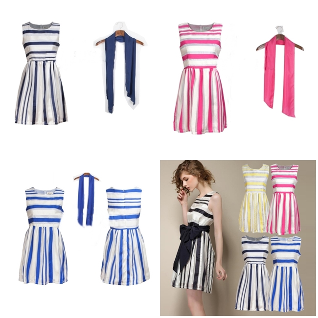 ชุดเดรส Faddish Organza Stripes