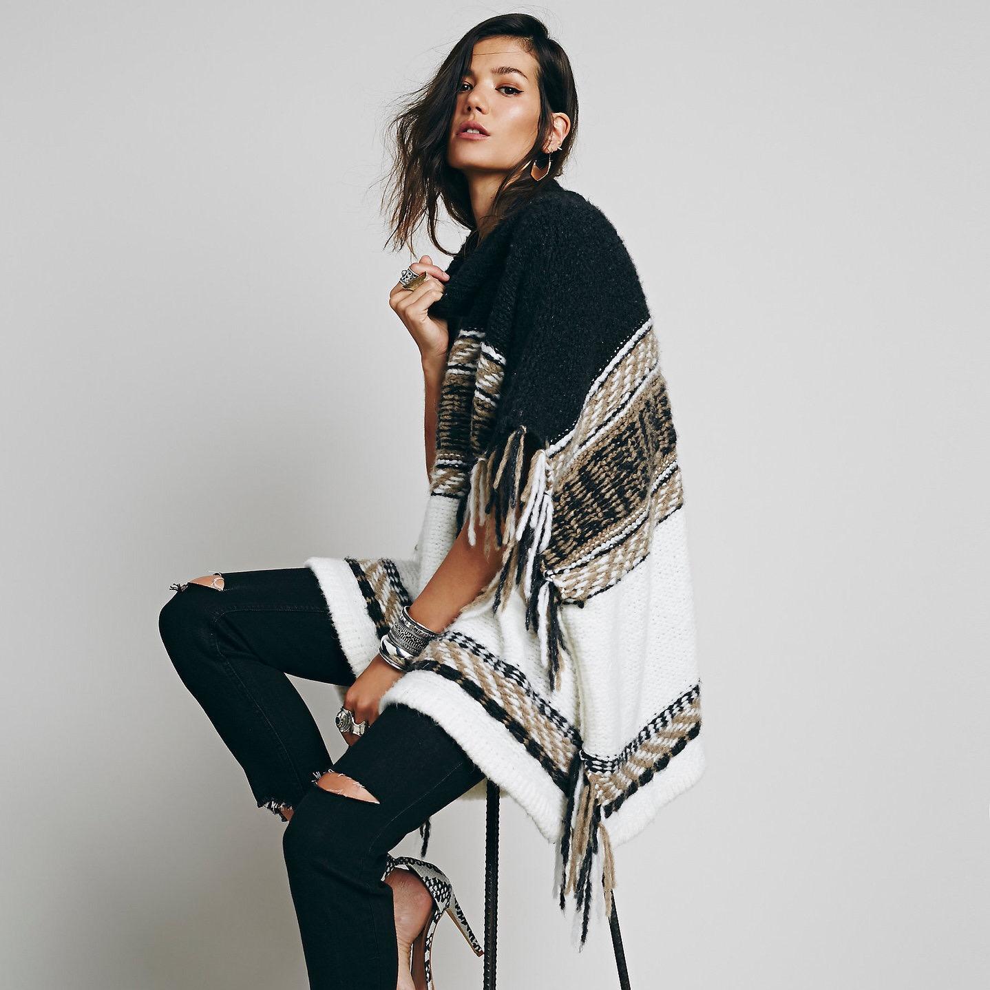 เสื้อสเวตเตอร์ Shawl Cloak Sweater