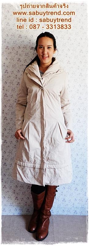 ca-2242 เสื้อโค้ทกันหนาวผ้าร่มสีกากีสว่าง รอบอก42