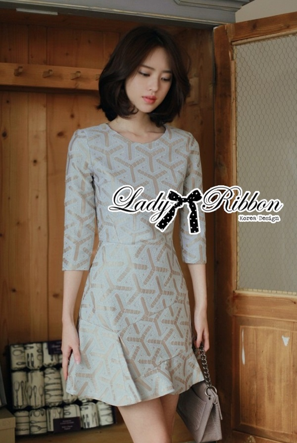Lady Ribbon Glam Asymmetric Brocade Dress