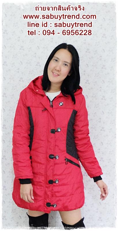 ((ขายแล้วครับ))((คุณPumpuiจองครับ))ca-2615 เสื้อโค้ทกันหนาวผ้าร่มสีแดง รอบอก38