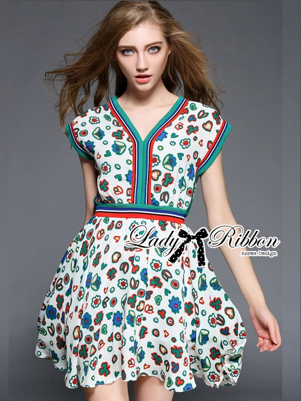 Lady Ribbon Colorful Flower Printed Viscose Dress
