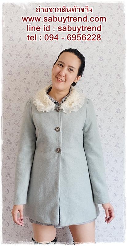 ((ขายแล้วครับ))((คุณMeemeeจองครับ))ca-2706 เสื้อโค้ทกันหนาวผ้าวูลสีเขียวมิ้น รอบอก35