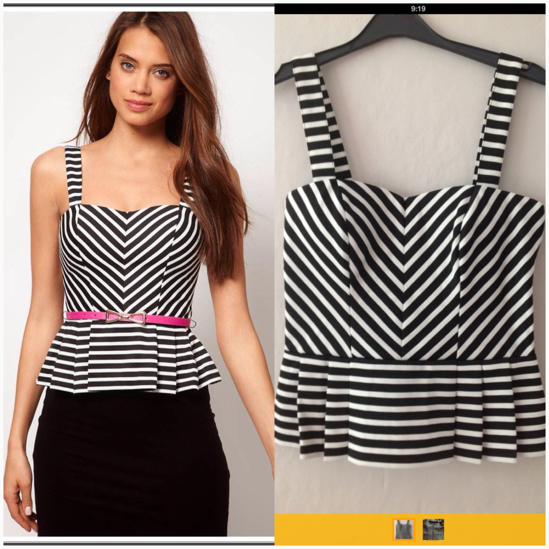 Lipsy Black and White Top size uk10