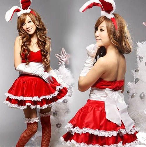 ชุดแฟนซี เกาะอก กระต่ายน้อย Bunny girl กระโปรงบาน พร้อมหูกระต่าย+ถุงมือ สีแดงขลิบขาว
