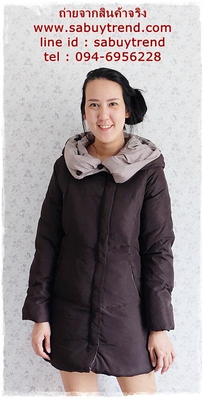 ((ขายแล้วครับ))((คุณSuchittraจองครับ))ca-2900 เสื้อโค้ทขนเป็ดสีดำ รอบอก38