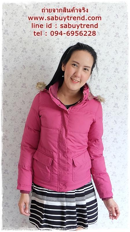 ((ขายแล้วครับ))((คุณJennyจองครับ))ca-2748 เสื้อโค้ทขนเป็ดสีชมพู รอบอก36