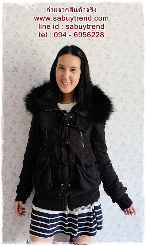 ((ขายแล้วครับ))ca-2550 เสื้อโค้ทกันหนาวผ้าร่มสีดำ รอบอก36