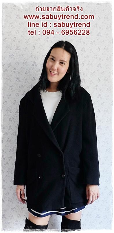 ((ขายแล้วครับ))((คุณTikครับ))ca-2568 เสื้อโค้ทกันหนาวผ้าวูลสีดำ รอบอก42