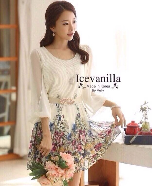 Icevanilla Luxury Chiffon Printed Dress with Belt
