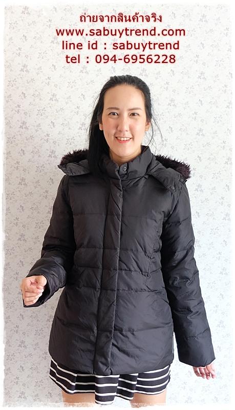 ((ขายแล้วครับ))((จองแล้วครับ))ca-2760 เสื้อโค้ทขนเป็ดสีดำ รอบอก40