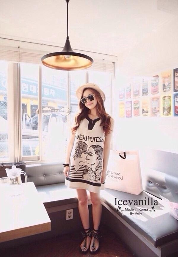 Ice Vanilla เดรสแขนกุดสีขาว พิมพ์ลายสไตล์เกาหลี