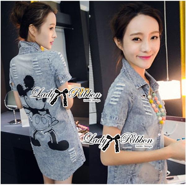 Lady Ribbon Mickey Printed Embellished Denim Shirt Dress