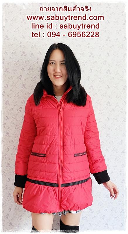 ((ขายแล้วครับ))((จองแล้วครับ))ca-2667 เสื้อโค้ทกันหนาวผ้าร่มสีแดง รอบอก40