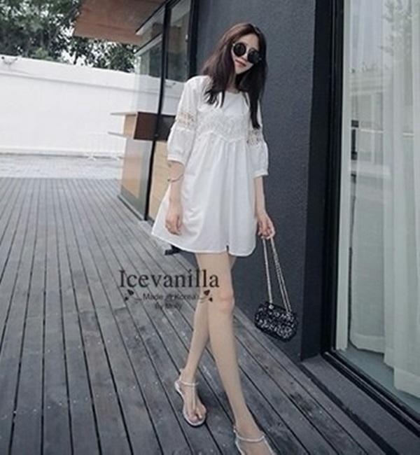 Icevanilla Sweet Fresh White Lace Dress