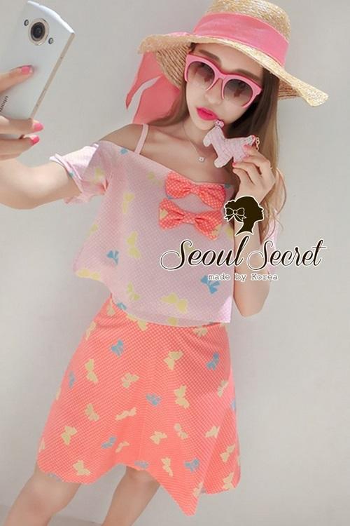 Seoul Secret Pink Salmon Dot and Bow Print Singlet & Skirt