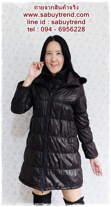 ((ขายแล้วครับ))((คุณMeemeeจองครับ))ca-2608 เสื้อโค้ทกันหนาวผ้าร่มสีดำ รอบอก38