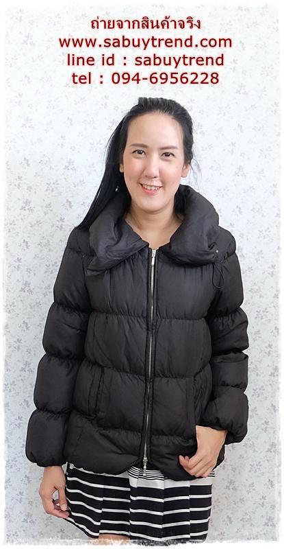 ((ขายแล้วครับ))((คุณatcharaจองครับ))ca-2744 เสื้อโค้ทขนเป็ดสีดำ รอบอก38