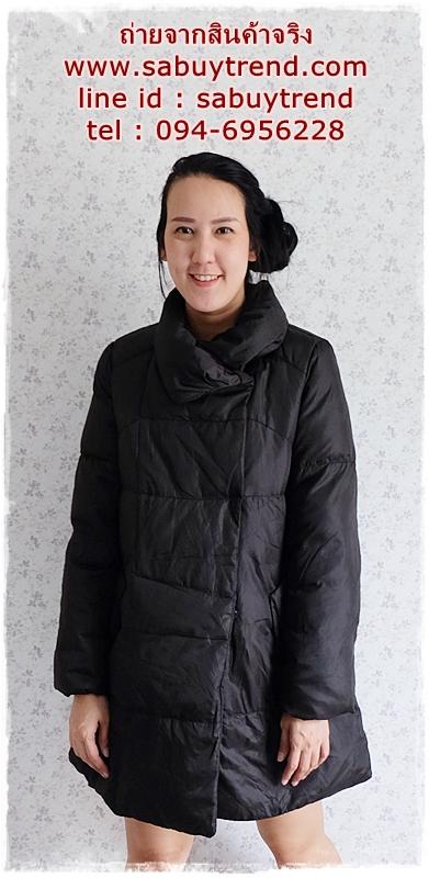 ((ขายแล้วครับ))((คุณวราภรณ์จองครับ))ca-2896 เสื้อโค้ทขนเป็ดสีดำ รอบอก40