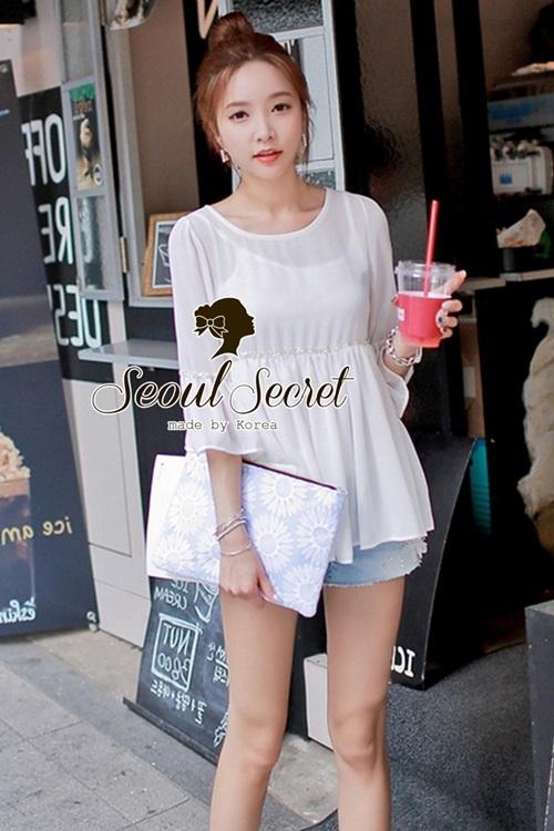 Seoul Secret เสื้อผ้าชีฟองเนื้อทราย สีขาว สีดำ แต่งเลื่อมสีเงิน