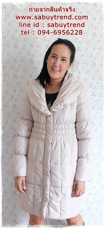 ((ขายแล้วครับ))((จองแล้วครับ))ca-2755 เสื้อโค้ทขนเป็ดสีครีม รอบอก38