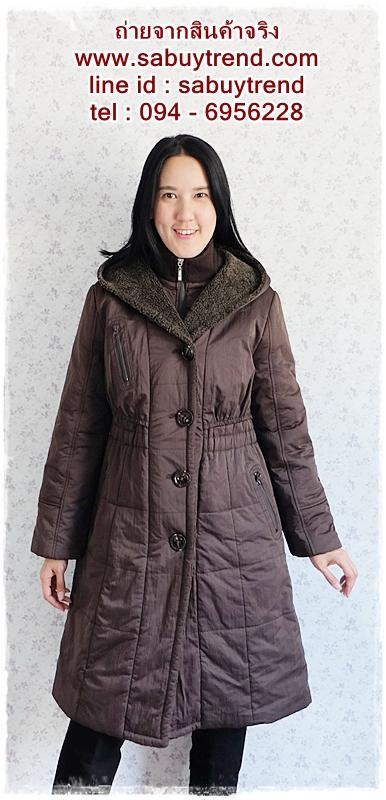 ((ขายแล้วครับ))((คุณKateจองครับ))ca-2639 เสื้อโค้ทกันหนาวผ้าร่มสีน้ำตาล รอบอก40