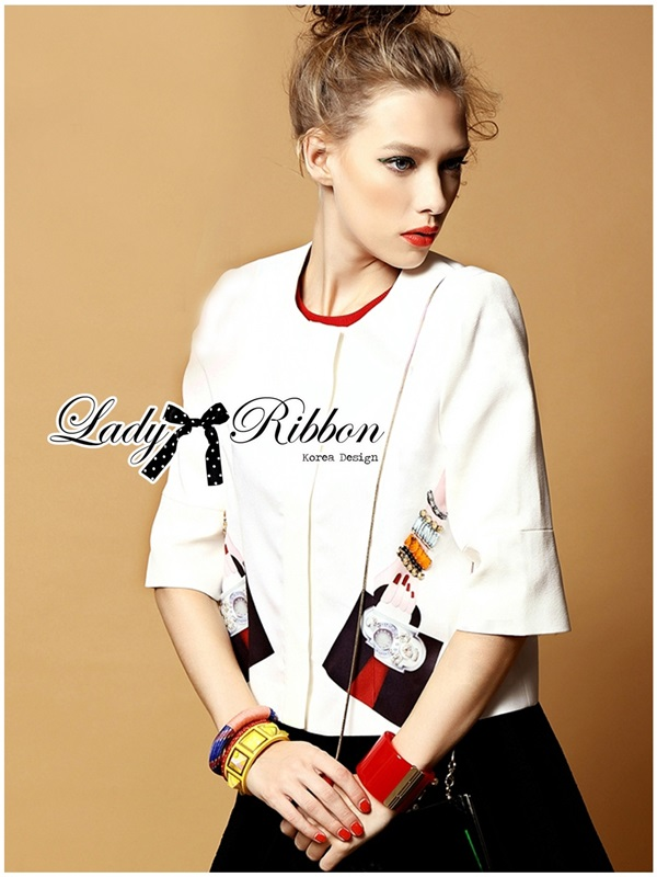 Lady Ribbon Sassy Embellished Surreal Print Blouse