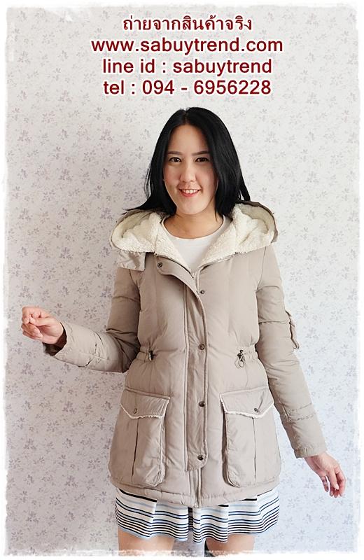 ((ขายแล้วครับ))((จองแล้วครับ))ca-2668 เสื้อโค้ทกันหนาวผ้าร่มขนเป็ดสีเขียวขี้ม้าอ่อน รอบอก37